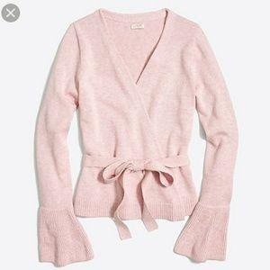 NWT J CREW Factory Bell Sleeve Wrap Sweater Ballet